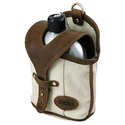 bf3216b7a TrailMax Canvas & Leather Canteen Carrier with Stainless Steel Canteen,  Trail-Riding Horse Saddlebag, Attach to Saddle-Bags, Pack or Belt;  Available with ...
