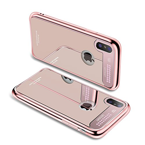 iPhone X Case,Tempered Glass Mirror Aluminum Bling Diamond Design Cute Glitter Hard Drop Protection Scratch-Resistant Cover Luxury Slim Bumper [TPU Shock Absorption] for Apple iPhone X Rose Gold
