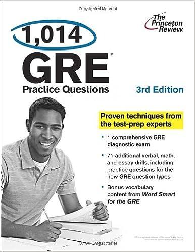 1,014 GRE Practice Questions (3rd Edition) (Graduate School Test Preparation)