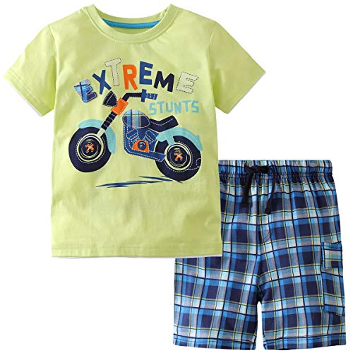 2 Pcs Little Boys Girls Kids Cotton Monster Truck Print Cotton T-Shirt + Shorts Children's Clothing Outfits Set