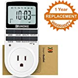 Light Timer, UKOKE Timer Outlet, Appliance Timer with Outlet, 7 Day Weekly Programmable Outlet with Timer, Wall Timer Light Switch, Digital Light Timer, Plug-in Timer for Electrical Outle (1 Pack)