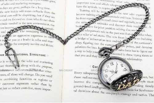 AMPM24 Women Men's Dad Black Dangle Pendant Pocket Quartz Watch Gift + Chain WPK051 by KS (Image #7)