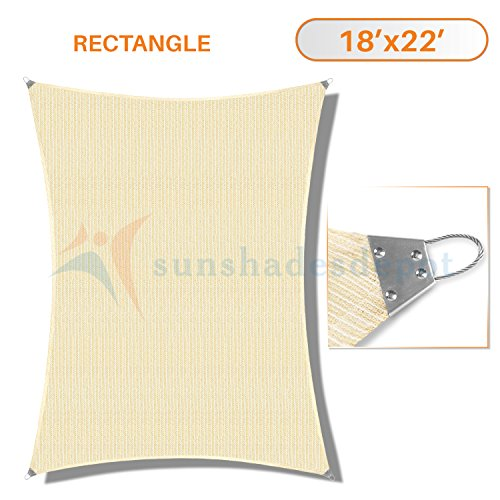 (Sunshades Depot 18' x 22' Reinforcement large Sun Shade Beige Rectangle Heavy Duty Metal Spring / Steel Wire Outdoor Permeable UV Block Fabric Durable Steel Wire Strengthen 160 GSM)