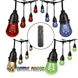 Outdoor String Lights RGB Color Changing LED String Lights 48FT 24sockets Patio Lights Outdoor Lights Color Bulbs Light for Patio Cafe Garden Hotel Party Decoration/Patio String Lights UL Standard
