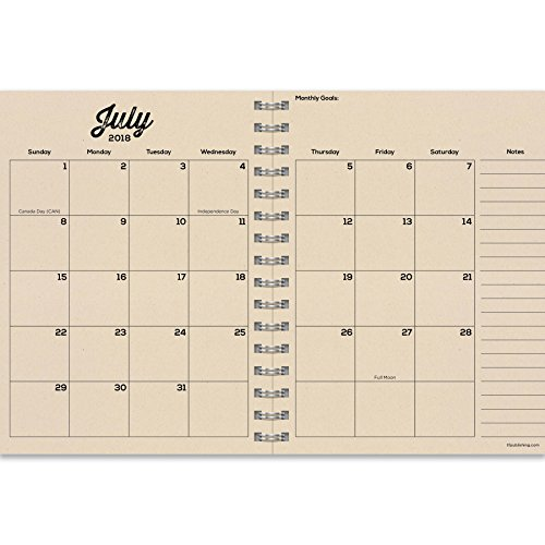 TF Publishing 19-9057A July 2018 - June 2019 Need Coffee Medium Weekly Monthly Planner, 6.5 x 8'', Black & White by TF Publishing (Image #1)