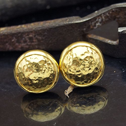 Sterling Silver Hammered Turkish Designer Stud Earrings 24k Gold Vermeil Handcrafted Women Earrings