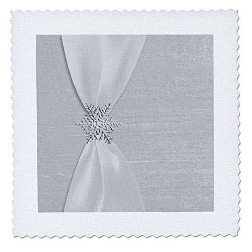 - 3dRose qs_29626_1 White Satin Ribbon with Snowflake-Quilt Square, 10 by 10-Inch