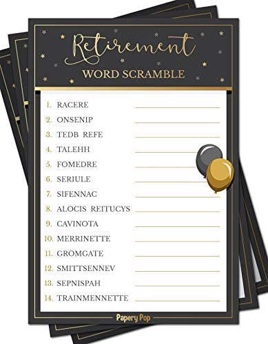 Retirement Party Word Scramble Cards product image