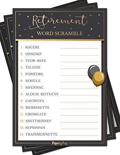 Retirement Party Word Scramble Game Cards (50 Pack) - Retirement Party Games Ideas Activities Supplies - Job Work Retiree Celebration