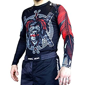 Primal Gear Aztec Warrior BJJ Compression Base Layer Rash Guard Shirt- BJJ, Jiu Jitsu