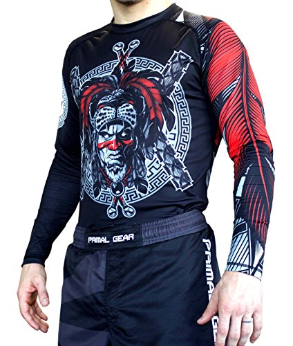 Primal Gear Aztec Warrior BJJ Compression Base Layer Rash Guard Shirt- BJJ, Jiu Jitsu