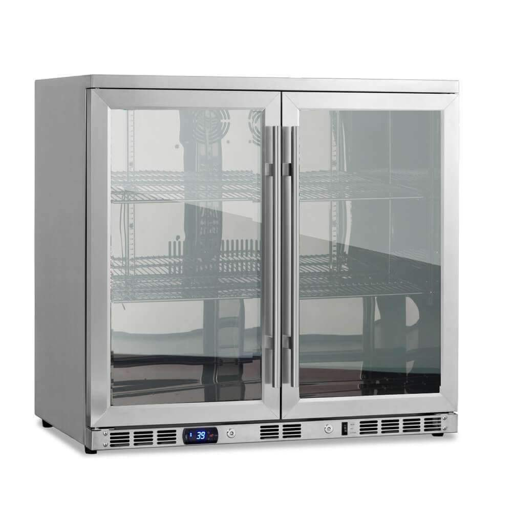 "KingsBottle 36"" Beverage Cooler Fridge with Heating Glass Double Door Display, Stainless Cabinet Interior and Exterior, Front Venting Under Counter Built In, 35"" Wide, 22"" Depth 34""Height, 7.4 CF"