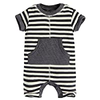 Fiream Baby Boys open buckle cotton Romper(70007TZ,6Months)