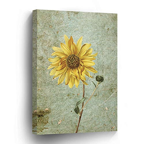 """wonbye Canvas Art Yellow Sunflowers Daisy on Rustic Background Wall Art Decor 16"""" x 20"""" Framed Canvas Prints Giclee Ready to Hang for Home Decoration"""