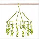 Pro Chef Kitchen Tools Stainless Steel Laundry Drying Rack - Round Compact Portable Outdoor Indoor Clothesline Replacement To Dry Clothing Anywhere and Includes Set of 16 Metal Clothespins (Green)
