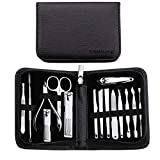 FAMILIFE F02 Manicure Set,15 in 1 Nail Clippers Professional Stainless Steel Manicure Kit Manicure Tools with Travel Case Grooming Kit for Women Men