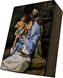 Catholic to the Max|Holy Family Jason Jenicke 4x6.5x2.5in Wooden Keepsake Rosary Jewelry Box, Suede Matte