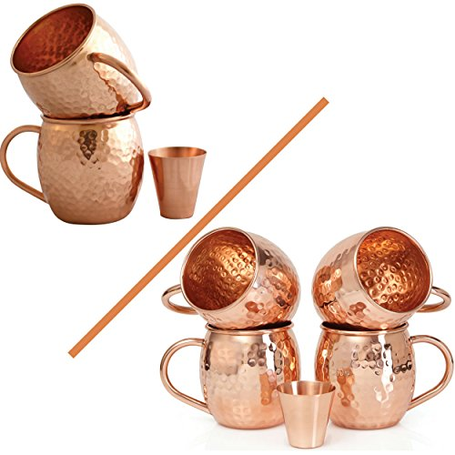 Set of 2 Moscow Mule Copper Mugs with Shot Glass - Two 16 Oz Copper Moscow Mule Mugs - Solid Copper Hammered Mug - Copper Cups for Moscow Mules (Beer In Copper Mug)