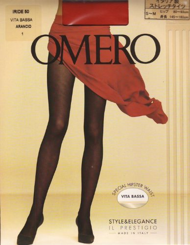 奇妙なブロックする洋服(オメロ) IRIDE50 ストレッチタイツ(カラー) VITA BASSA イタリア製 (4(日本サイズLL~3L), ARANCIO(オレンジ))