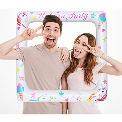 LUOEM Inflatable Unicorn Frame Unicorn Frame Photo Booth Props Blow Up Party Props Funny Selfie Picture Frame - Birthday|Wedding|Baby Shower|Halloween|Christmas Party Decorations(71x71cm)