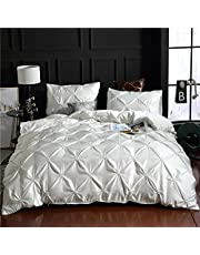 European Washed Silk Three Piece Set of Solid Color Bed Sheet Quilt Cover Bedding