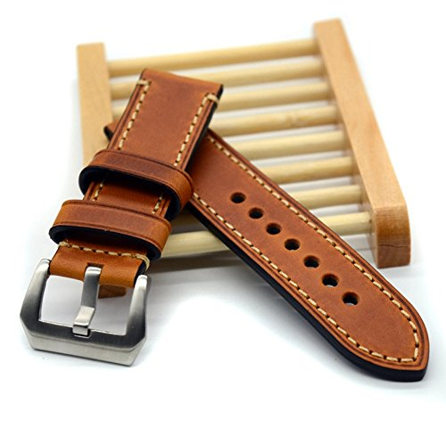 Hand Made High Quality Fine Leather Watch Strap Band for Watch 20mm 22mm with Stainless Steel Buckle