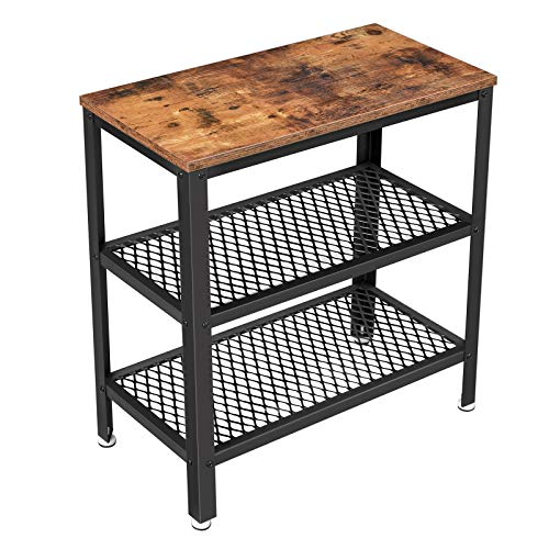 VASAGLE BRYCE Side Table, End Table, Decorative Table with 2 Mesh Shelves, Hallway, Living Room, Bedroom, Office, Narrow, Stable, Space Saving, Easy Assembly, Industrial Design, Rustic Brown ULET33BX (Side For Small Table Hallway)