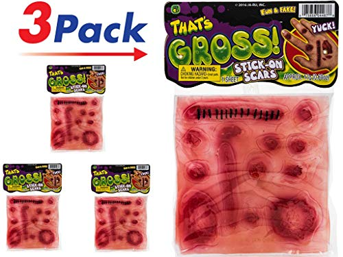 Stick-On Scars (Pack of 3) by JARU | Scars Costume Makeup Prank | Item #4467-3 ()