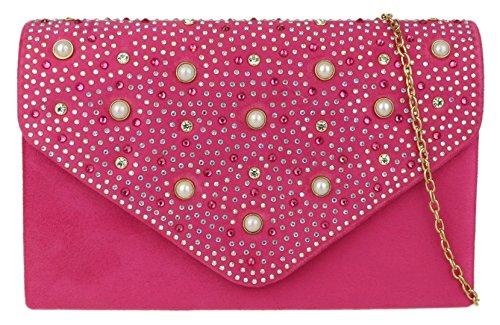 Bag Clutch Girly Rhinestones Fuchsia Handbags gqwpU