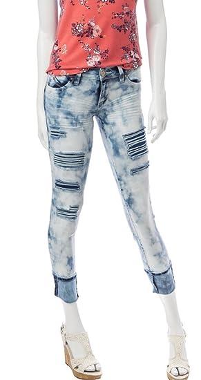 6097c1c7 YMI Juniors Wanna Betta Butt Destructed Rolled Cuff Ankle Skinny Jeans,  Faded Denim (9