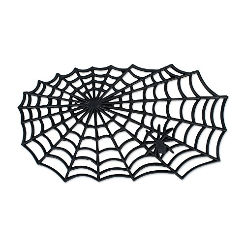 J&M Home Fashions Heavy Duty Natural Rubber Halloween Outdoor Doormat, 19.5x34.5, Entry Way Shoes Scraper Patio Rug Dirt Debris Mud Trapper Waterproof-Spider Web -