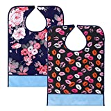 Sumnacon Reusable Waterproof Adult Bibs 2 Pack with Crumb Catcher- Machine Washable, Large Extra Long Mealtime Protector, Dining Bibs with Crumb Catcher(Lip-Prints+Flower)