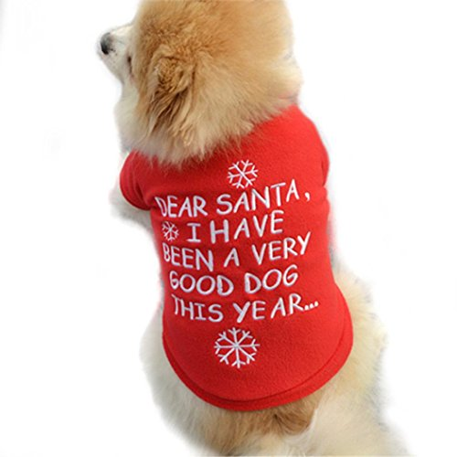 (IEason Pet Clothes, 2017 Christmas Pet Puppy Autumn Winter Warm Pullover High-grade Embroidered Clothes (M,)