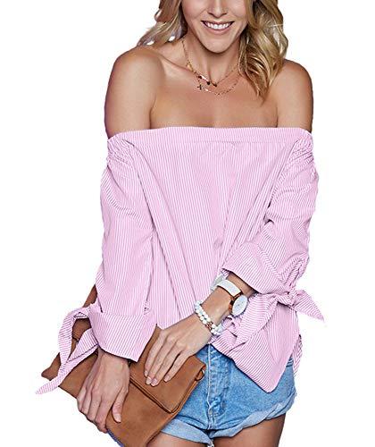 - Just Quella Women's Off The Shoulder Top Blouse 8422 (M, Pink Stripe)