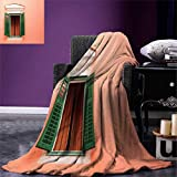 "Country,Outdoor Blanket,Mediterranean Style Image of Window and Shutters Old House Rural Rustic,Flannel Blanket,Orange Green White,Size:50""x30"""