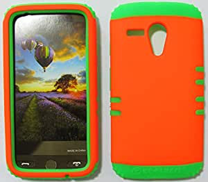 Hybrid Impact Dual Layer Holster Silicone Case Cover, For Motorola Moto G Case, Orange Snap + Lime Green Skin Moto G, New, Bumper Case Hard Snap-on Protector - GR-A006-FF accessoriesnmore
