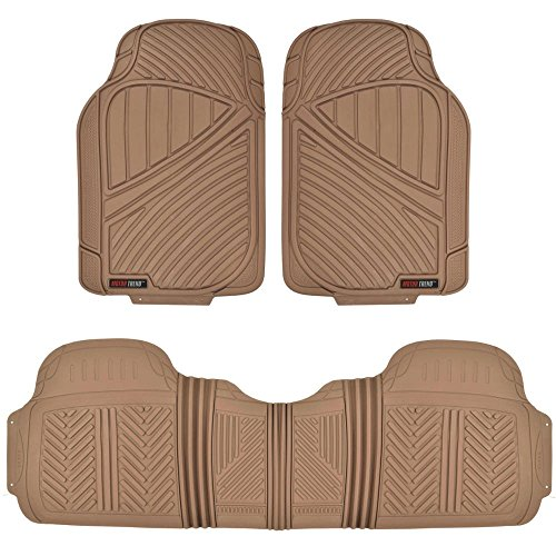 Motor Trend FlexTough Baseline - Heavy Duty Rubber Car Floor Mats, 100% Odorless & BPA Free, All Weather (Tan Beige)