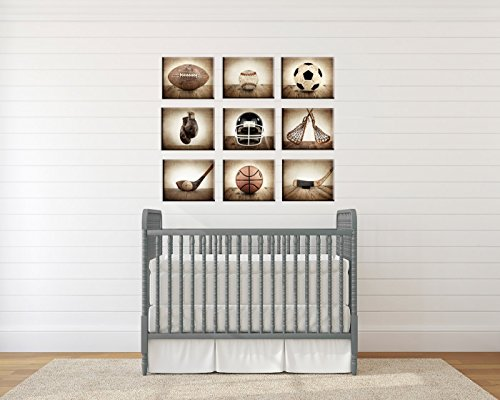 Sports Themed Canvas Wall art for boys, Vintage Sports Set of 9 Canvas prints ready to hang, multiple sizes available, Vintage themed baseball, basketball, soccer, football, golf, lacrosse and boxing. by Saint and Sailor Studios