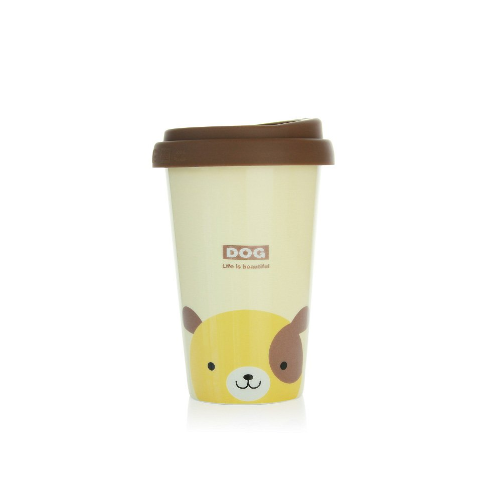 ac6155567a4a UPSTYLE Cute Coffee Mug Lovely Ceramic Travel Mug Tumbler with Silicone Lid  To Go Tea Cups for Dog Lovers Reusable Animal Mugs Eco Bamboo Cup,13.5oz  (Beige ...