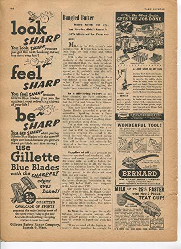 Gillette Blue Blades Sharpest Edges Ever Honed Look Sharp Feel Sharp Be Sharp 1946 Vintage Antique Advertisement