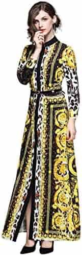 80e1c51de3c LAI MENG FIVE CATS Maxi Dresses for Women Casual Paisley Print Long Sleeve  Maxi Long Party