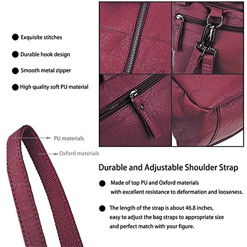 ELIMPAUL Bag Multifunction PU Backpack Shoulder Backpack Backpack 2pcs Handbag One Soft in All Leather Red Red Women rqFAf8r