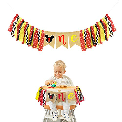 Mickey Mouse Kids First Birthday Highchair Banner Mickey Mouse 1st Birthday Decorations Kit Mickey Party Decorations Supplies -