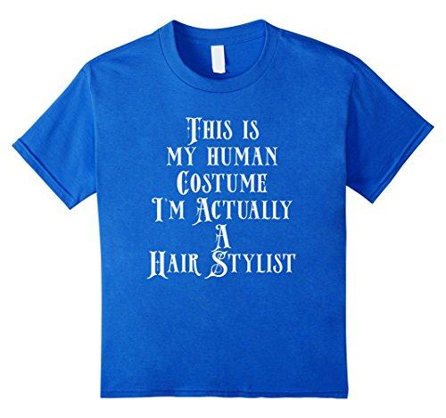 [Kids Human Costume - Hairstylist Salon Costume Hair Dresser Shirt 6 Royal Blue] (Salon Girl Costumes)
