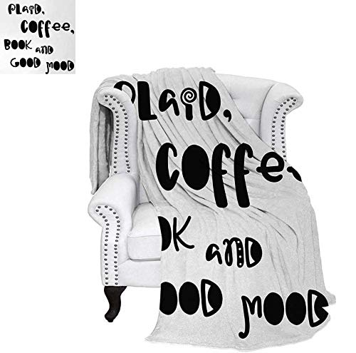 (Weave Pattern Blanket Plaid Coffee Book and Good Mood Phrase in Vintage Typography in Black and White Print Custom Design Cozy Flannel Blanket 70