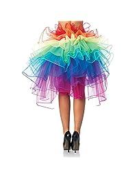 Allure Maek Women Layered Rainbow Tutu Skirt Dance Ruffle Skirt Mini Bubble Skirt Petticoat Free Size