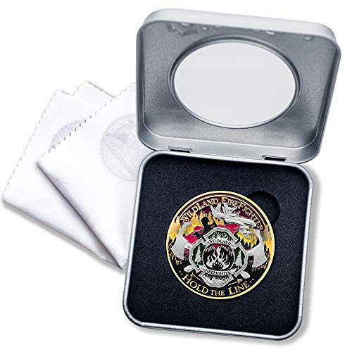 Wildland Firefighter Challenge Coin with Deluxe Display Tin Box and Bonus polishing Cloth