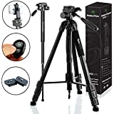 KobraTech 70 Inch Tripod for Camera and Phone - Apex A70 – Camera Tripod Stand with Bluetooth Remote Shutter  Phone Tripod Mount & Monopod