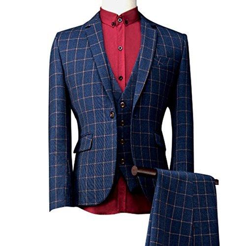 Men's Modern Plaid 3-Piece Suit Slim One Button Blazer Jacket Flat Front Pants Blue,Medium