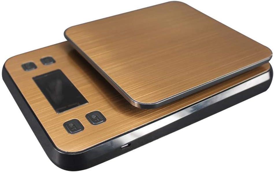 DZX Balanza electrónica balanza Digital de Alta precisión balanza de Acero Inoxidable Cocina Comida café balanza electrónica con Temporizador de Alarma Amarillo Dorado, balanzas de Cocina de Acero in